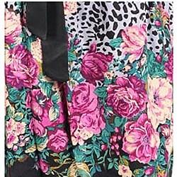 Stanzino Women's Floral Animal-print Belted Strapless Dress