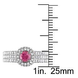 Miadora 14k White Gold 1ct TDW Pink and White Diamond Halo Ring (H-I, I1-I2)