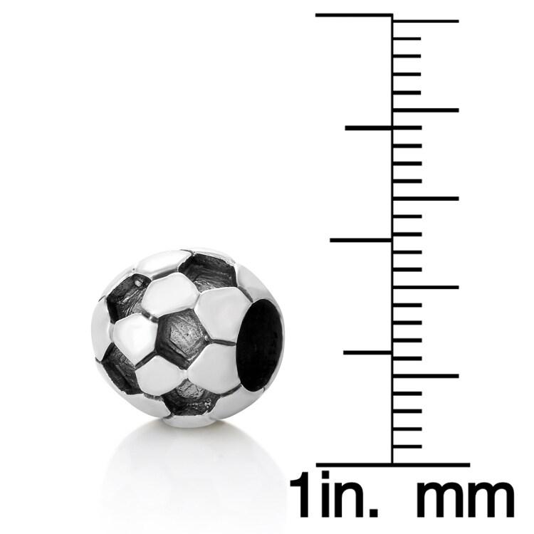 Chuvora Sterling Silver Soccer Ball Charm Bead