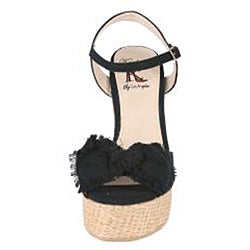 Elegant by Beston Women's 'Camila' Bow-tie Wedge Sandals
