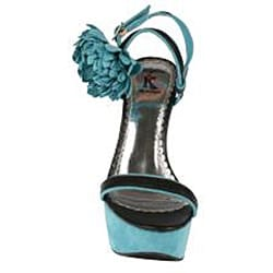 Elegant by Beston Women's 'Tottie-2' Blue Chunky Platform Sandals