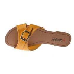 Elegant by Beston Women's 'SANDRI-6' Yellow Buckle Sandals