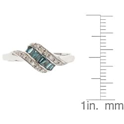 D'Yach Sterling Silver 1/3ct TDW Blue Diamond Ring