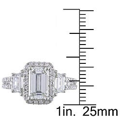 Miadora 14k White Gold 2 1/2ct TDW Emerald-cut Diamond Ring (G-H, SI1-SI2)