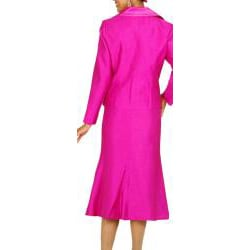 Divine Apparel Women's Raspberry Two-piece Deep-V Skirt Suit