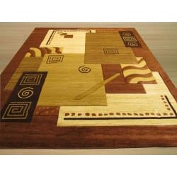 Hand-carved Modern Design Lotus Ivory Rug (5'3 x 7'3)