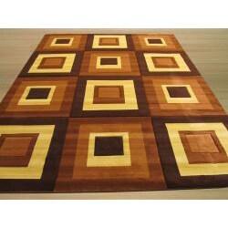 Hand-carved Modern Design Siro Brown Rug (5'3 x 7'3)