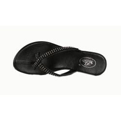 Bolaro by Beston Women's Black Wedge Thong Sandals