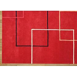Handmade Andy Red Wool Rug (8' x 10')