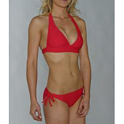 Island World Junior's Red Halter Keyhole Bottom Bikini