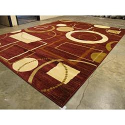 Hand-carved Red Stripes Geometric Rug (7'10 x 9'10)