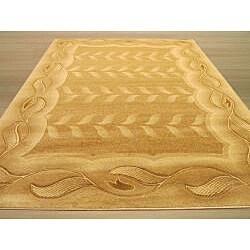 Hand-carved Floral Ivory Border Rug (7'10 x 9'10)