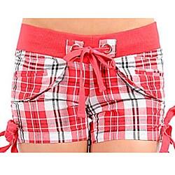 Stanzino Women's Red White Plaid Shorts