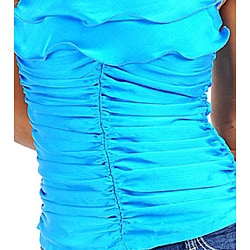 Stanzino Women's Blue Rosette Ruffled Halter Top