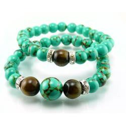 Pretty Little Style Turquoise Tiger Eye Bracelet Set
