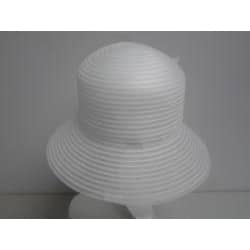 Swan Women's White Braided Crinoline Flower-topped Floppy Hat