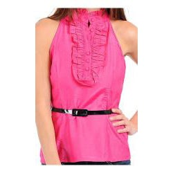 Stanzino Women's Fuschia Ruffled Halter Top with Skinny Belt