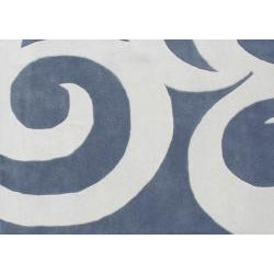 Hand-tufted Rings Grey Blue Wool Rug (6' Square)