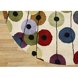 Alliyah Handmade Cream New Zealand Blend Wool Rug(6' Round)