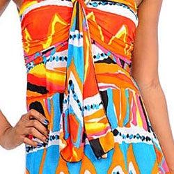 Stanzino Women's Orange/ Blue Printed Maxi Dress