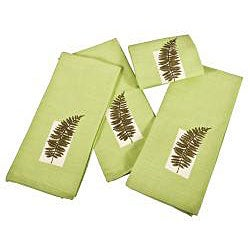 Embroidered Wood Fern 100-percent Cotton Kitchen Towel (Set of 4)
