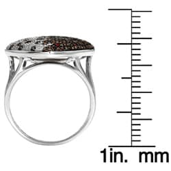 Sterling Silver 1ct White and Orange Diamond Heart Ring