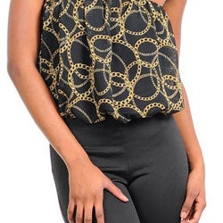 Stanzino Women's Black/ Gold Ring Contrast Strapless Jumpsuit