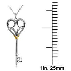 10k Gold and Silver 1/6ct TDW Diamond Key Necklace (I-J, I2-I3)
