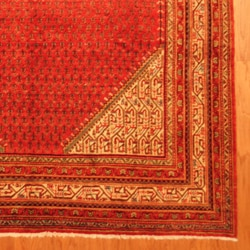 Persian Hand-knotted Tribal Mir Red/ Ivory Wool Rug (7' x 10'9)