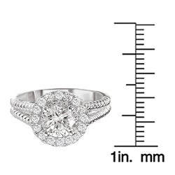14k White Gold 1/3ct TDW Diamond and CZ Engagement Ring (G-H, SI1-SI2)