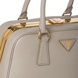 Prada Taupe Saffiano Leather Pyramid Frame Bowler Bag - 14362558 ...