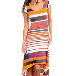 Stanzino Women's Short Sleeve Striped Maxi Dress with High-Low Hemline
