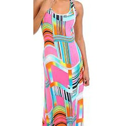 Stanzino Women's Geometric Prints Racerback Maxi Dress