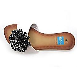 Blue Women's White Polka-dot Rosette Slide Sandals