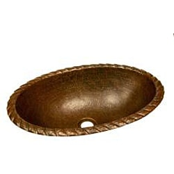 Oval Braided Rolled Rim Copper Sink / 5 Inch Height