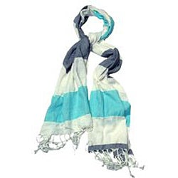 Women's Turquoise Gray and White Striped Scarf