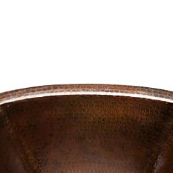 Square 14-inch Hammered Copper Bathroom Sink