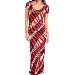 Cap-Sleeve Stanzino Women's Short Sleeve Geometric Print Long Dress
