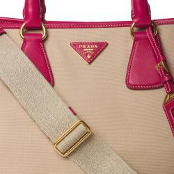 Prada Beige Canvas/ Pink Saffiano Leather Tote Bag