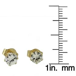 Beverly Hills Charm 14k Yellow Gold White Sapphire 3-6 mm Stud Earrings