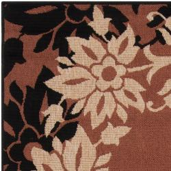 Tulaghi Russet Floral Border Indoor/Outdoor Rug (6' x 9')