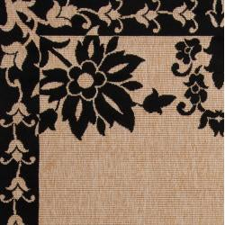Leeds Camel Floral Border Indoor/Outdoor Rug (7'6 x 10'9)