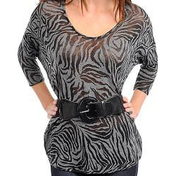 Stanzino Women's Sheer Animal-print 3/4-sleeve Belted Top