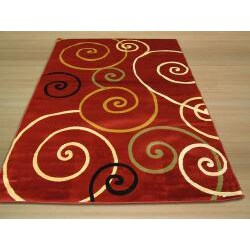 Yalda Red Geometric Rug (5'3 x 7'3)