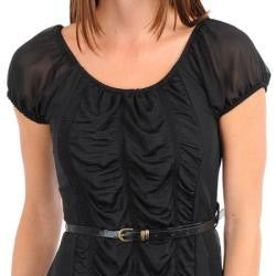 24/7 Frenzy Junior's Black Ruched Tiered Dress with Skinny Belt