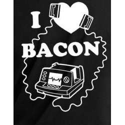 Men's Black 'I Love Bacon' Defribillator T-shirt