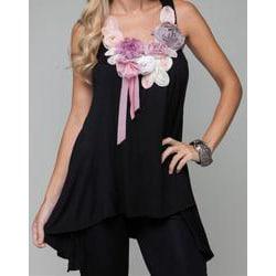 Stanzino Women's Rosette/ Ribbon Neckline Sleeveless Tunic Top