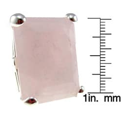 Sterling Silver Rectangle Rose-quartz or Blue Magnesite Ring