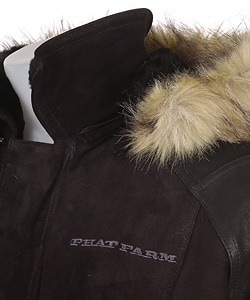 Phat Farm Men's Black Fur Trim Suede Shearling Coat