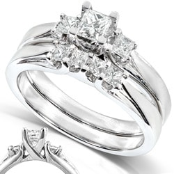 14k Gold 1/2 ct TDW Princess Diamond Bridal Ring Set